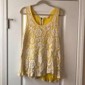 Anthropologie Meadow Rue Yellow&Lace Peplum Tank